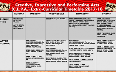 Creative, Expressive and Performing Arts Extra-Curricular Timetable 2017-18